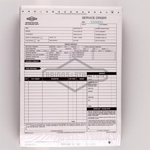 Briggs Amp Stratton 273188 Repair Order Forms Package Of 200