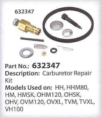 Tecumseh 632347 Carburetor Repair Kit HMSK80 HMSK100 HH100 OHM120 OEM Genuine