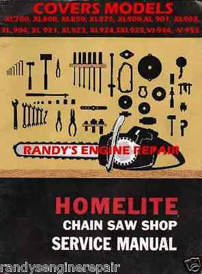HOMELITE XL700 THRU VI-955 SERVICE MAINTENANCE MANUAL