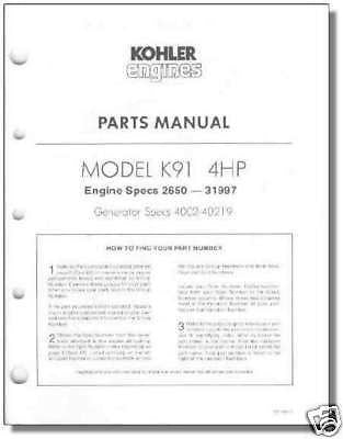 TP-392-C NEW PARTS Manual For K91 KOHLER Engine