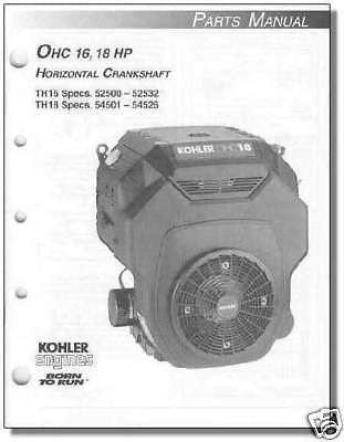 Kohler TP-2481 NEW PARTS Manual For select OHC16 -OHC18 TH16 TH18 Engine