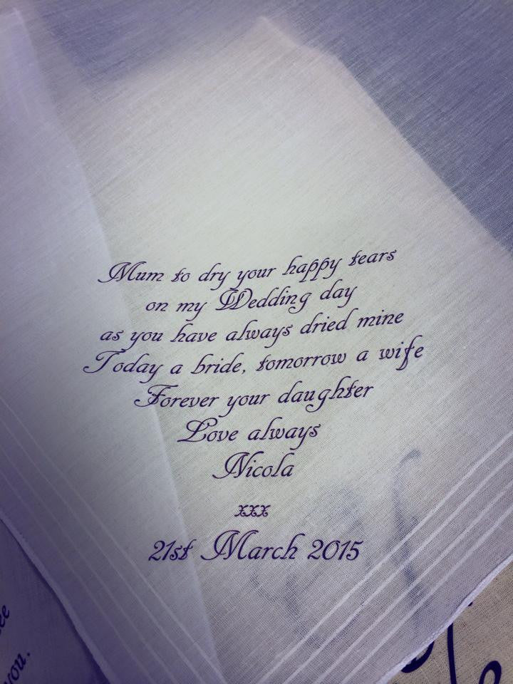 Personalised Mother Of The Bride Handkerchief
