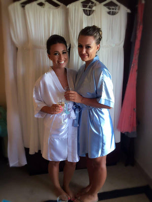 Silky Light Blue Wedding Robe