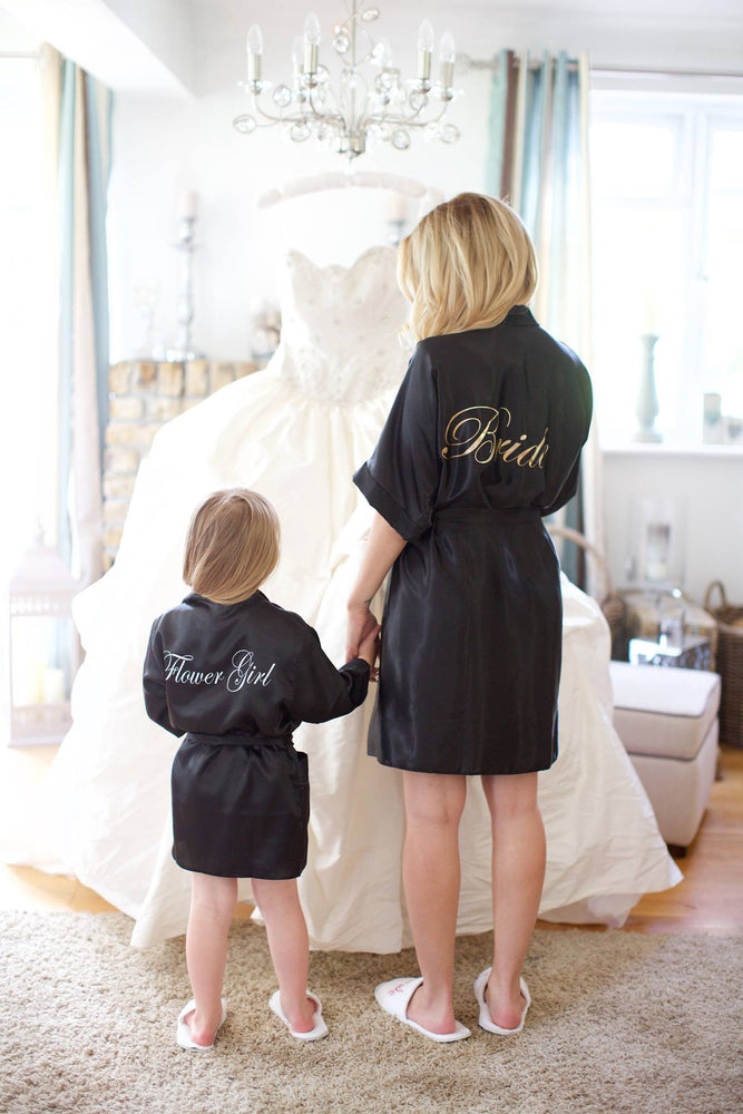 Silky Black Wedding Robe