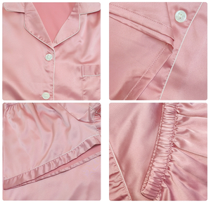 Monogrammed Satin Piped Pyjama Short Set