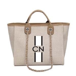 Personalised Monogrammed Chain Shopper - Beige