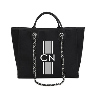 Personalised Monogrammed Chain Shopper - Black