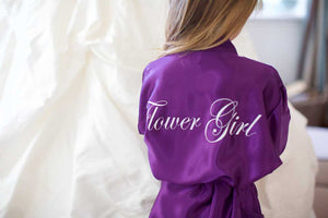 Childrens Silky Wedding Robe - Purple