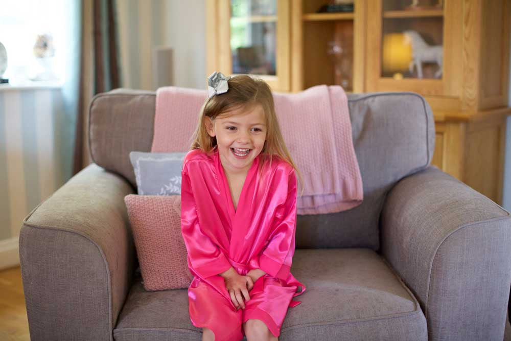 Childrens Silky Robe - Fuschia