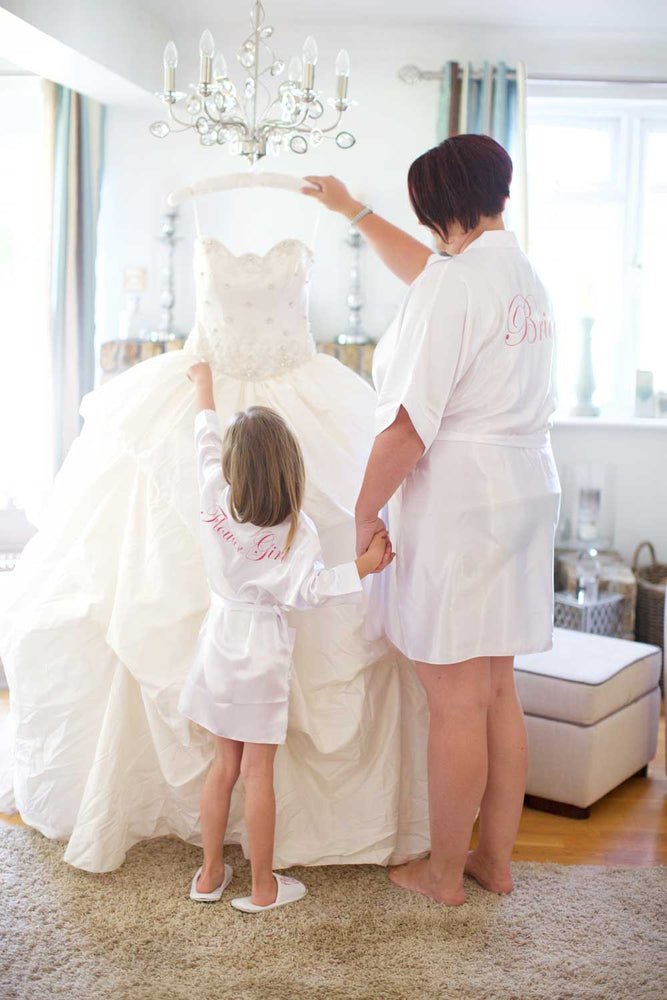 Childrens Silky Wedding Robe - White