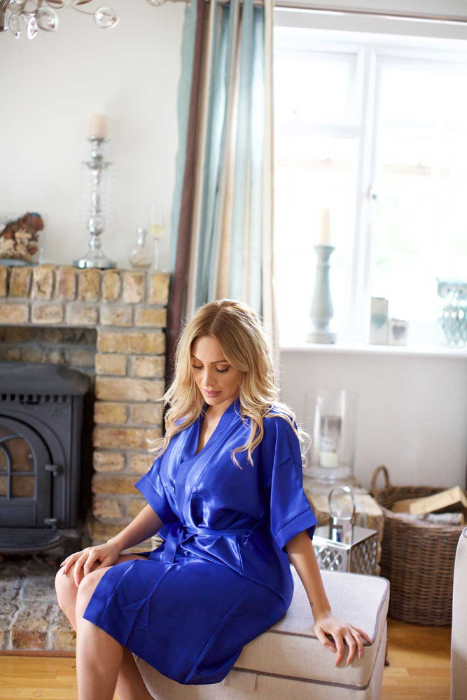 Silky Royal Blue Wedding Robe