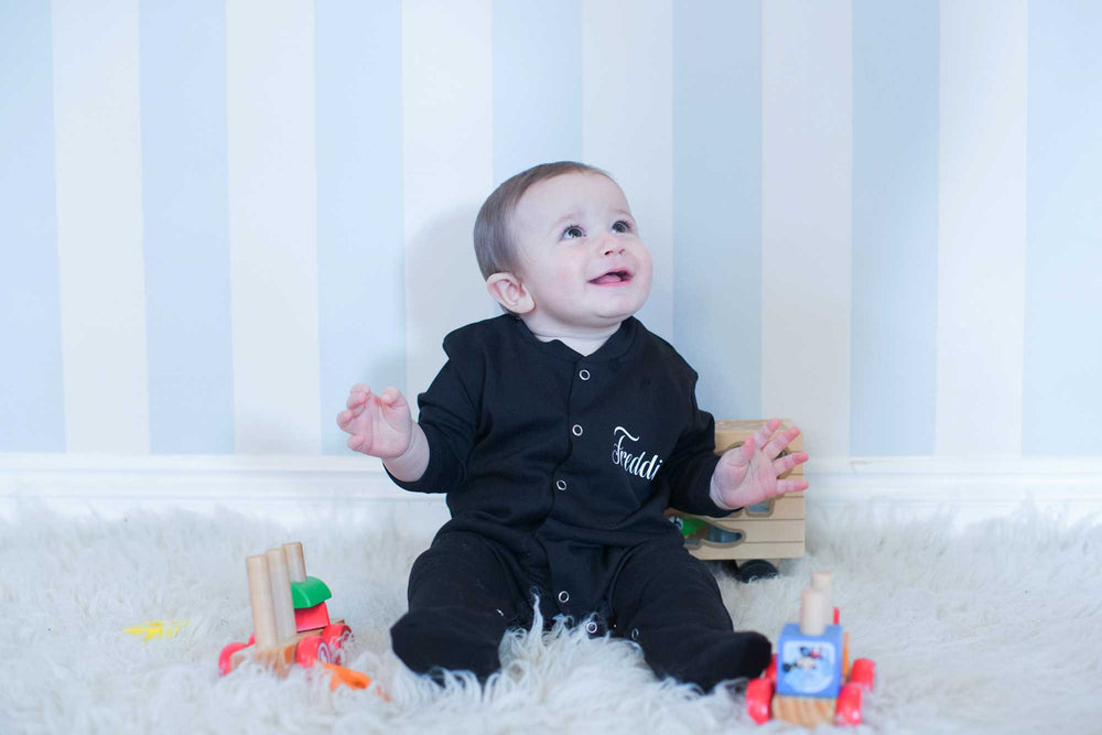 Black Personalised Sleepsuit