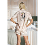 Champagne Satin Piped GoldBlush Pyjamas