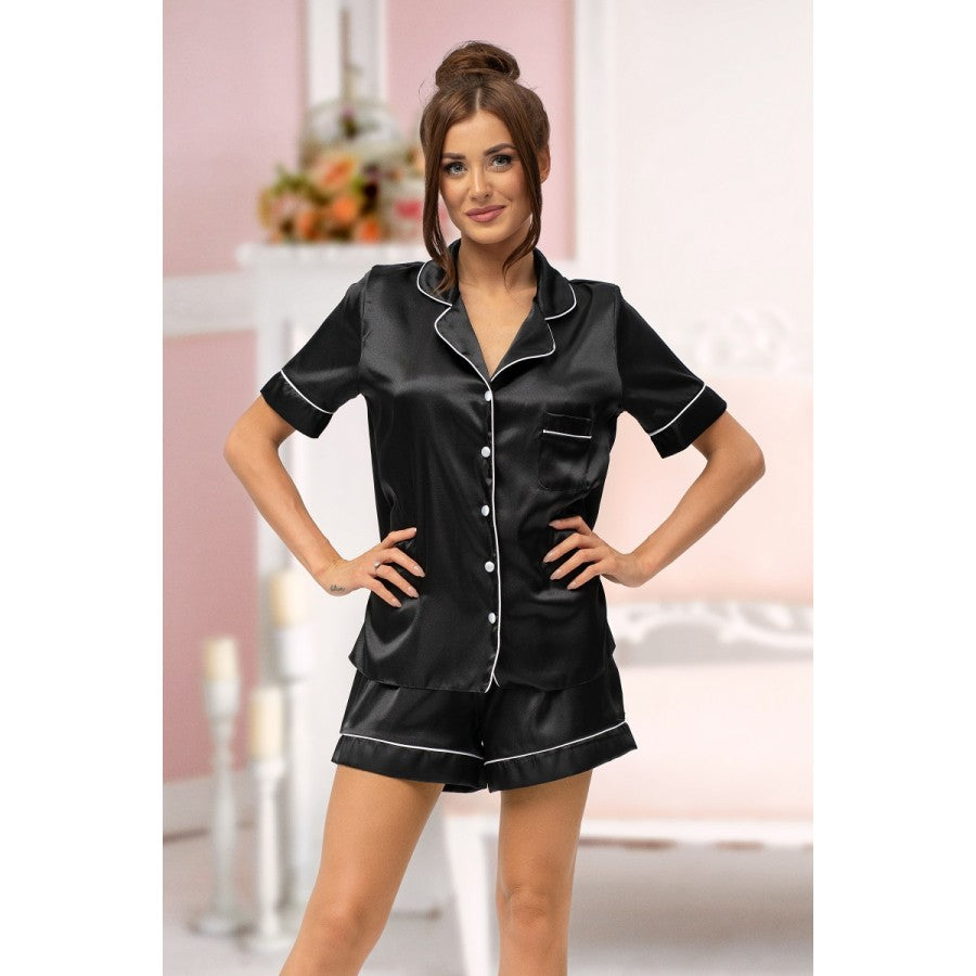 Black Satin Piped GoldBlush Pyjamas