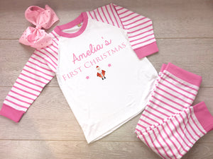 Pink First Christmas Personalised Pyjamas