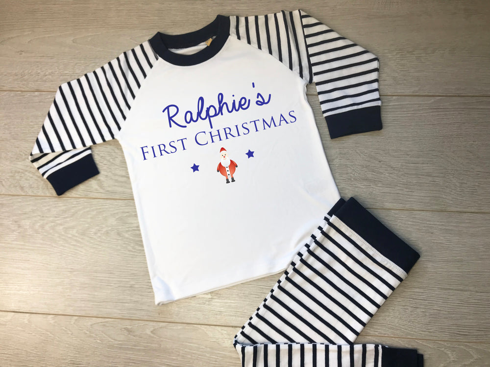 Navy First Christmas Personalised Pyjamas