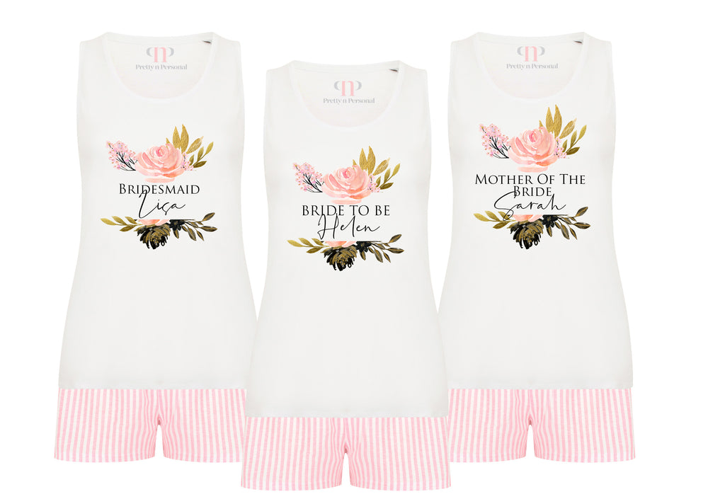 Blush Floral Candy Stripe Short Pyjamas