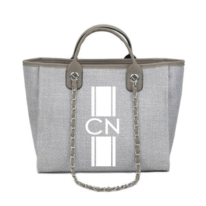 Personalised Monogrammed Chain Shopper - Grey