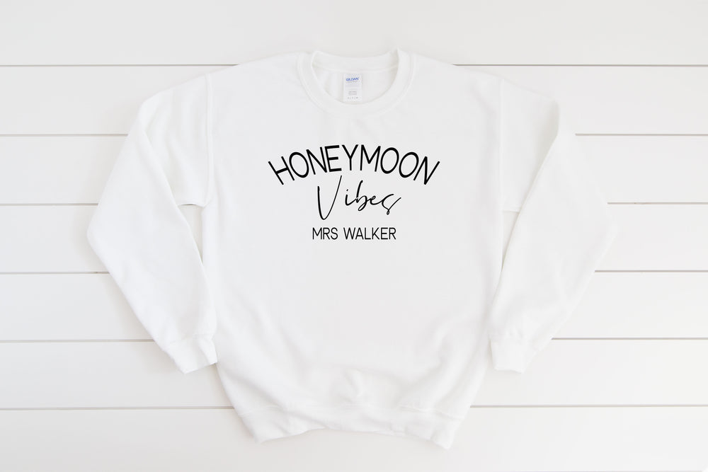 Personalised Honeymoon Vibes Sweatshirt - White