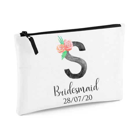Initial Wedding Party Pouch Bag