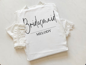 Melody Abigail Satin Lace Personalised Robe
