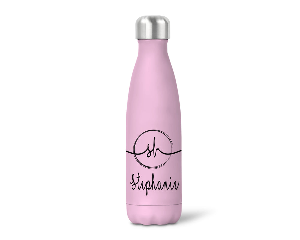 Insulated Personalised Script Monogrammed Bottle