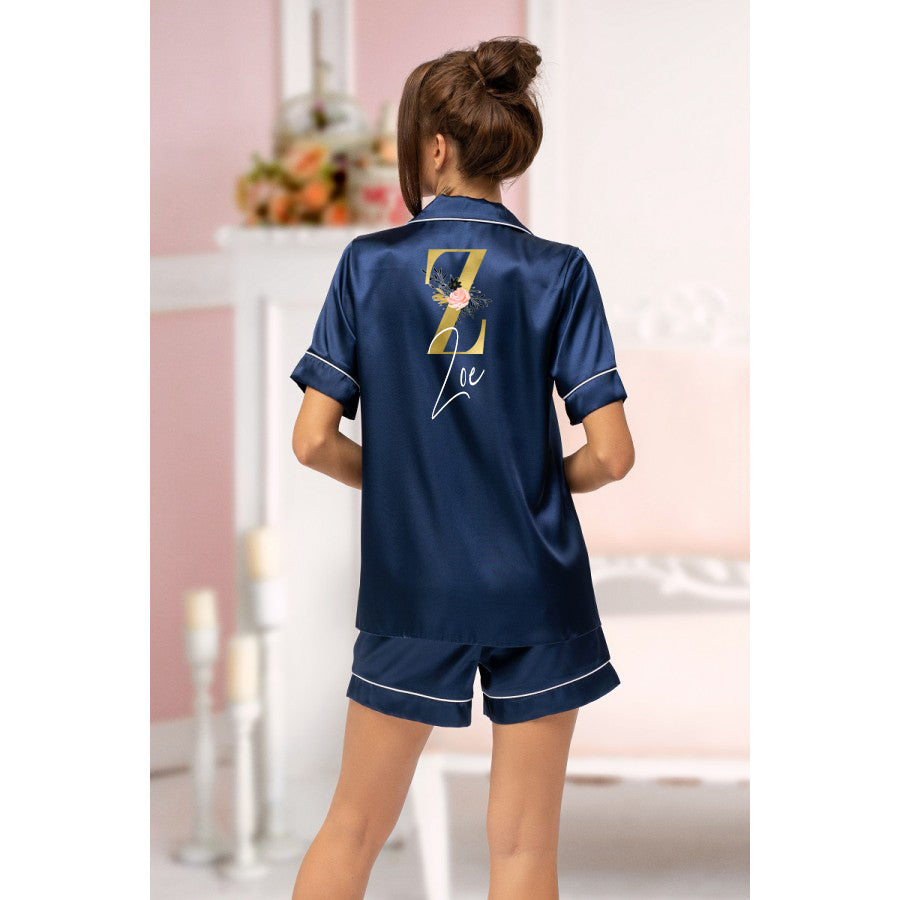 Navy Satin Piped GoldBlush Pyjamas