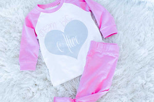 Girls Personalised Glitter Heart Pyjamas