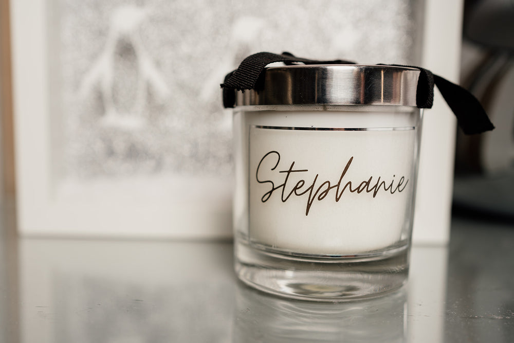 Glass Luxury Name Candle