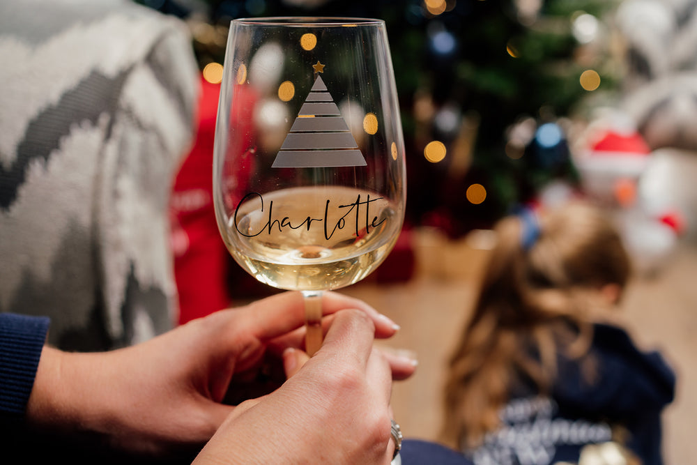 Personalised Christmas Tree Wine Glass