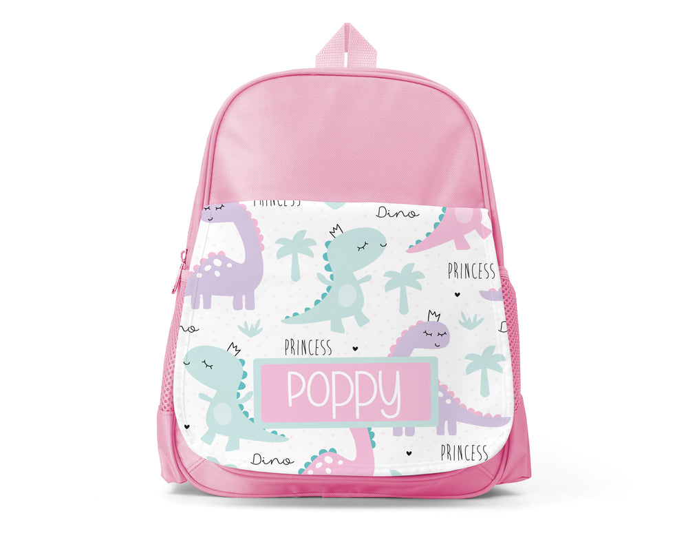 Pink Personalised Back Pack - Princess Dino