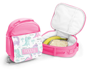 Pink Personalised Lunch Bag - Princess Dino
