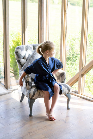 Childrens Silky Wedding Robe - Navy