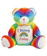 'I Belong To' Personalised Rainbow Bear