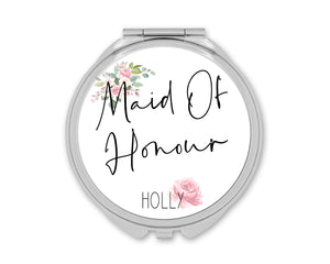 Rose Wedding Personalised Compact Mirror