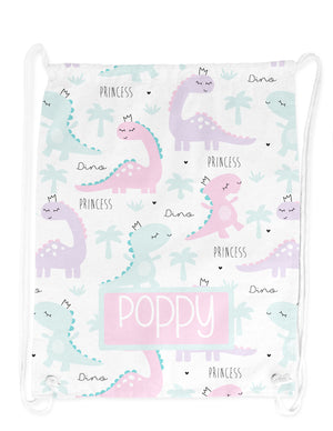 Personalised String Bag - Princess Dino