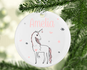 Unicorn Christmas Cermaic Bauble