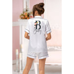 White Satin Piped GoldBlush Pyjamas