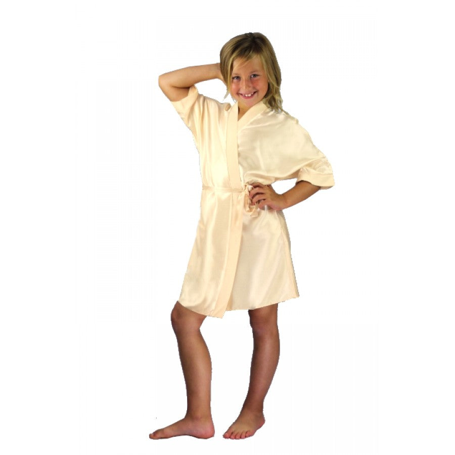 Childrens Silky Robe - Champagne