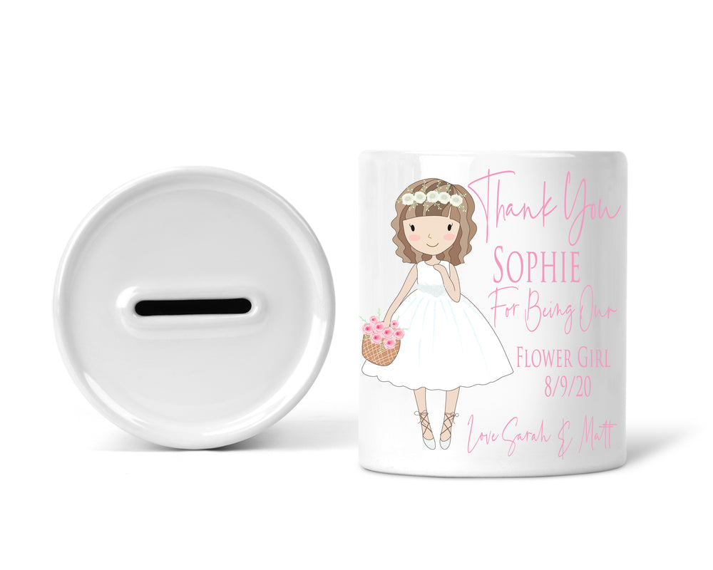 Girl's Personalised Wedding Keepsake Money Jar