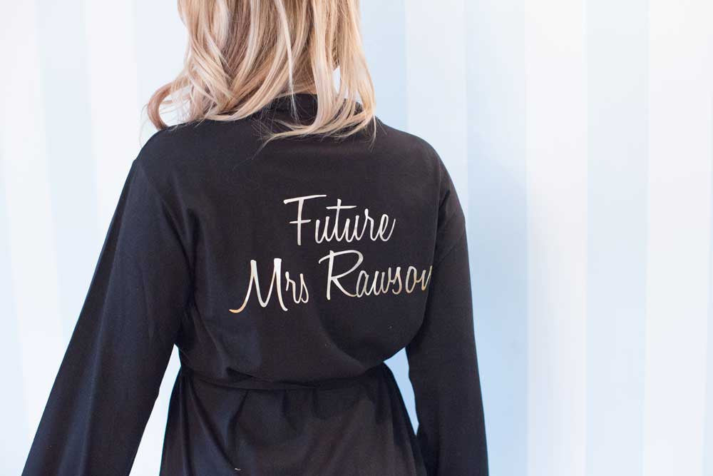 Future Mrs Cotton Dressing Gown In Black Pretty N Personal
