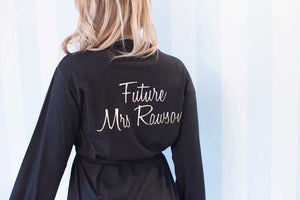 Future Mrs Cotton Dressing Gown in Black