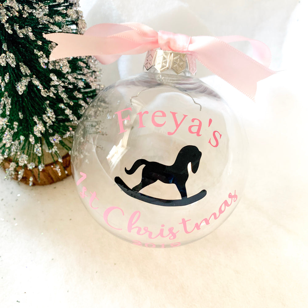 Personalised First Christmas Rocking Horse Christmas Bauble