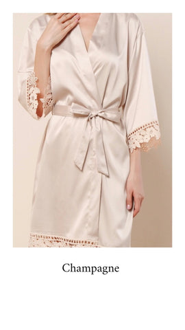 Abigail Satin Lace Personalised Robe - Champagne