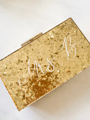 Serenity Personalised Hard Gold Glitter Clutch Bag