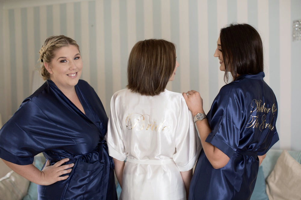Silky Navy Wedding Robe