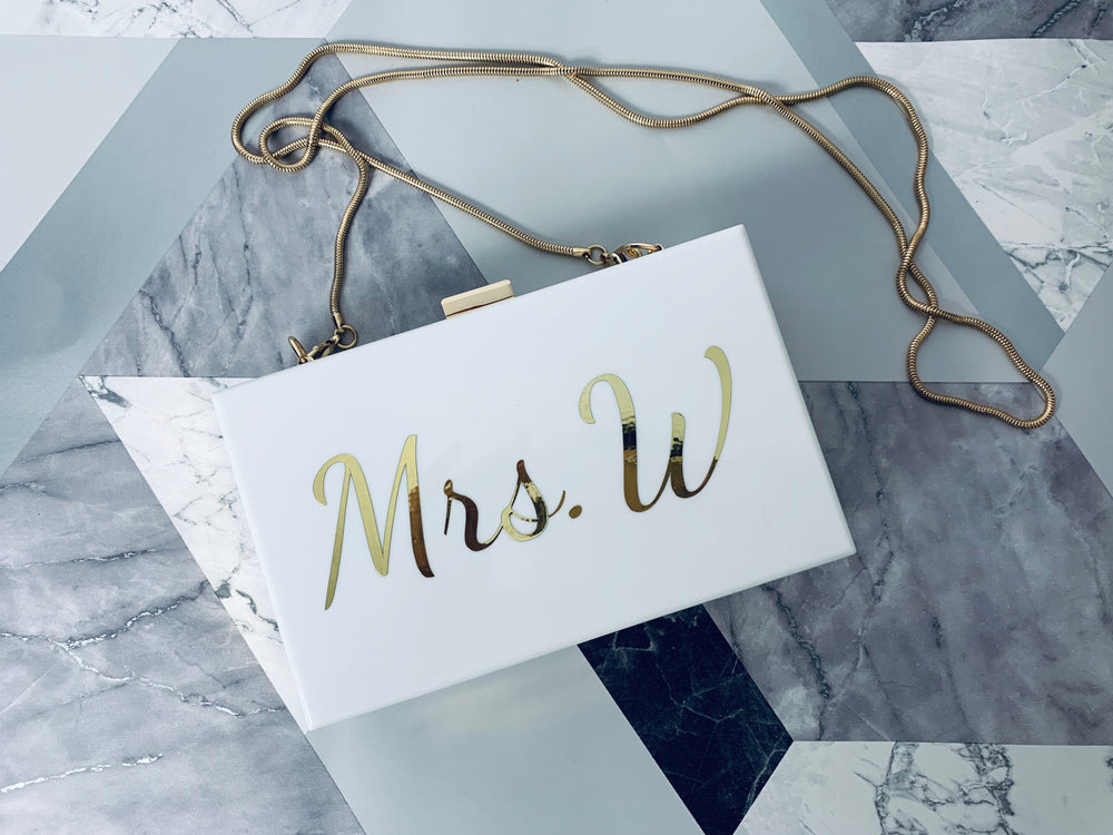 Personalised Mrs. Hard Clutch Bag White/Gold