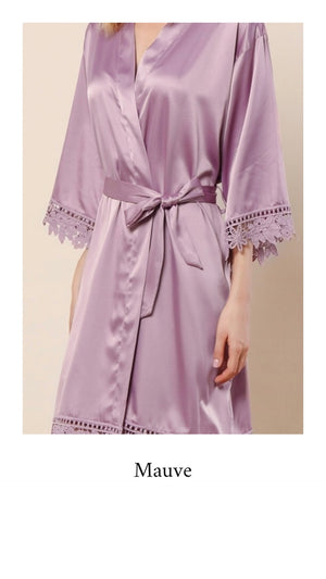 Abigail Satin Lace Personalised Robe - Mauve