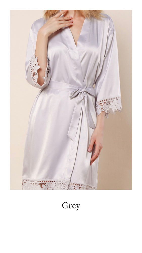 Abigail Satin Lace Personalised Robe