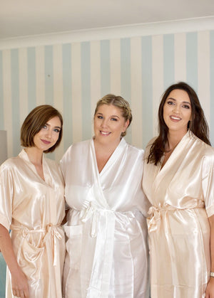 Silky Champagne Wedding Robe